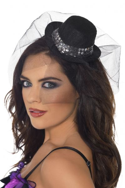 Burlesque Mini Top Hat On Headband Black